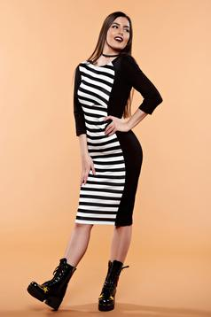 StarShinerS black daily dress horizontal stripes