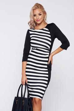 StarShinerS black daily dress with horizontal stripes