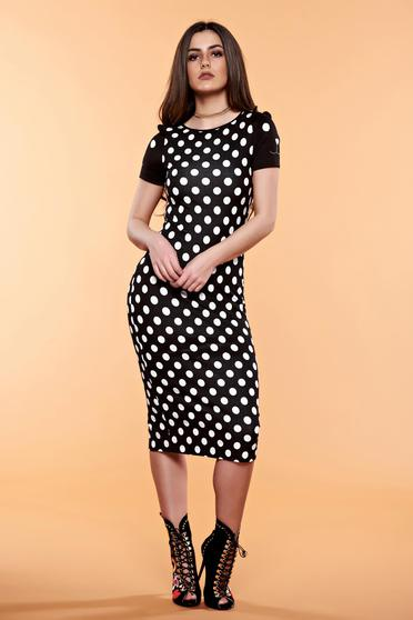 StarShinerS black daily dress with dots print