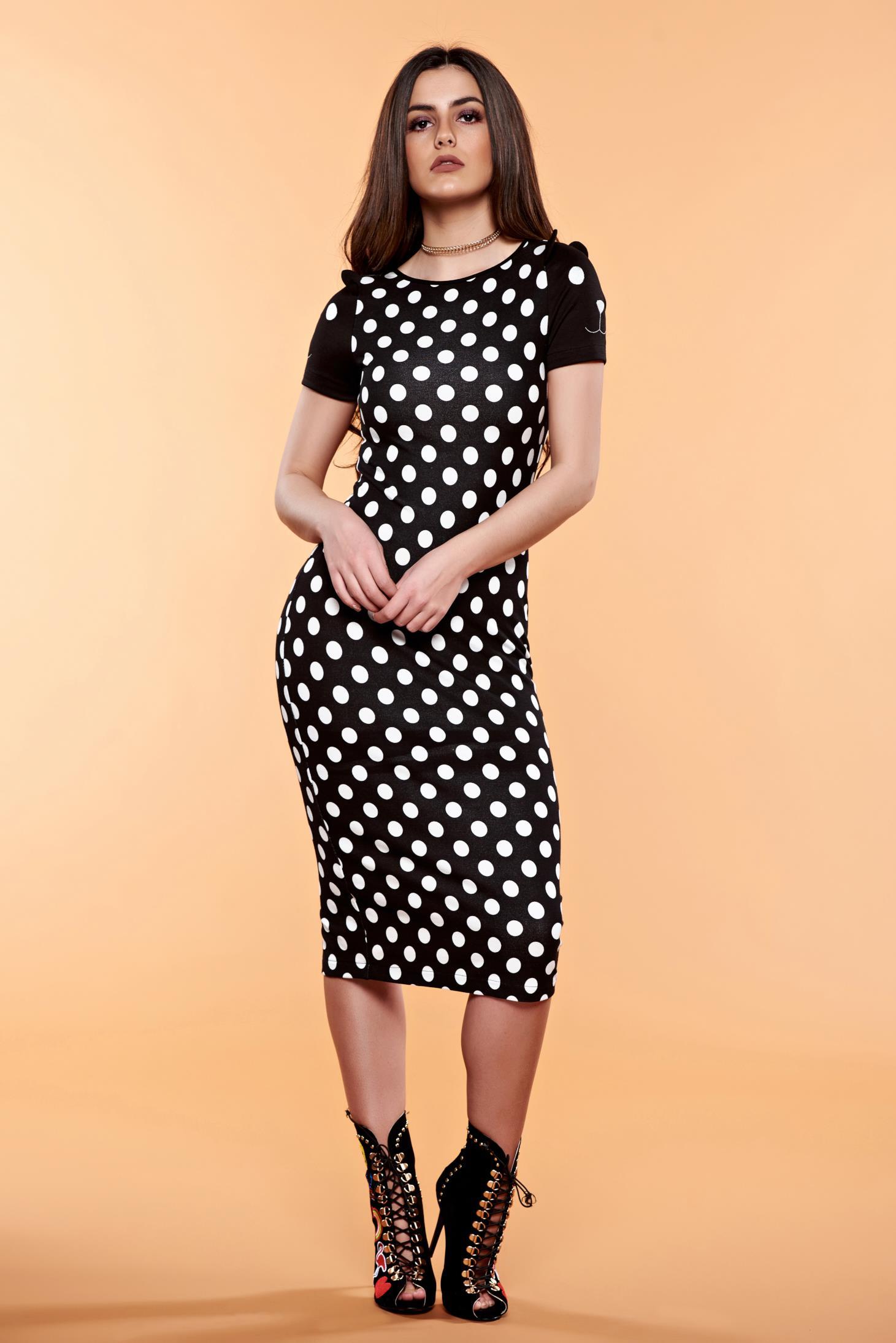 Rochie de zi neagra StarShinerS cu imprimeuri cu buline