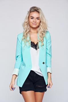 LaDonna mint jacket faux pockets inside lining