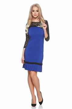 LaDonna laced sleeves blue dress with pleats of material