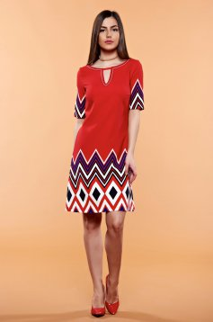 LaDonna red dress with easy cut and graphic print