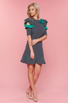 LaDonna green dress dots with butterfly sleeves