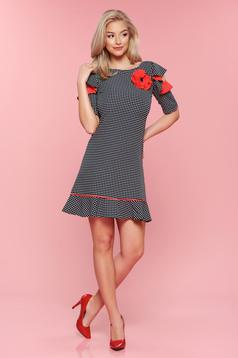 LaDonna red dress dots with butterfly sleeves