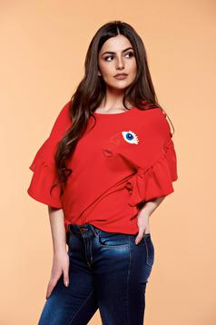 StarShinerS embroidered red women`s blouse with butterfly sleeves
