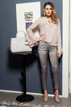PrettyGirl conical cream trousers with medium waist