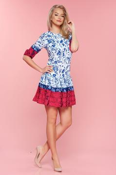 PrettyGirl cotton white dress with floral print