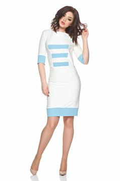 PrettyGirl lightblue daily dress woth horizontal stripes