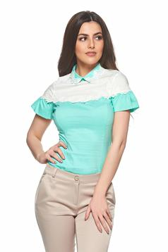Fofy mint cotton women`s shirt lace details