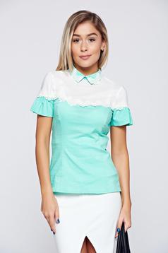 Fofy mint cotton women`s shirt lace details