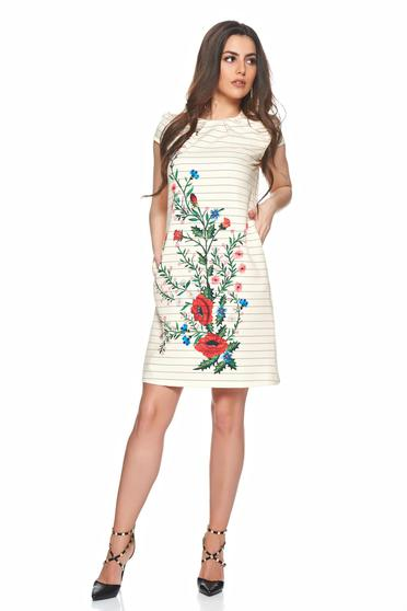 Fofy stripped cream dress with floral print