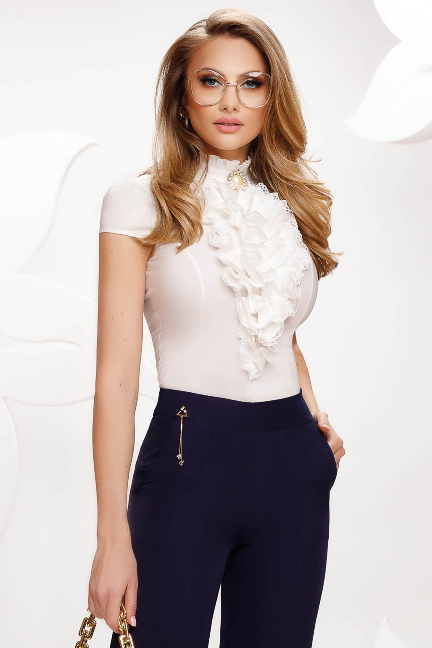 Ivory women`s shirt with ruffles on the chest short sleeve