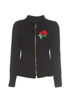 Artista inside lining black jacket with embroidery details