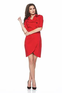 Artista wrap around dress red dress fastened with buttons
