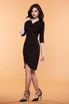 Artista wrap around black dress fastened with buttons