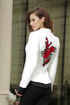 Artista inside lining white jacket embroidery details