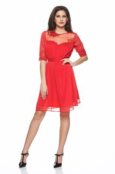 Artista red voile fabric dress accessorized with tied waistband