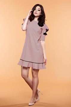 LaDonna rosa dress with dots print and butterfly sleeves