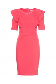 LaDonna pink dress small beads embellished details ruffle bust dress