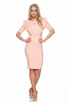 LaDonna peach dress small beads embellished details ruffle bust dress