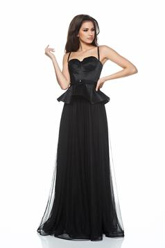 Ana Radu black evening dresses corset dress frilled waist