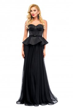 Ana Radu black evening dresses corset dress frilled waist