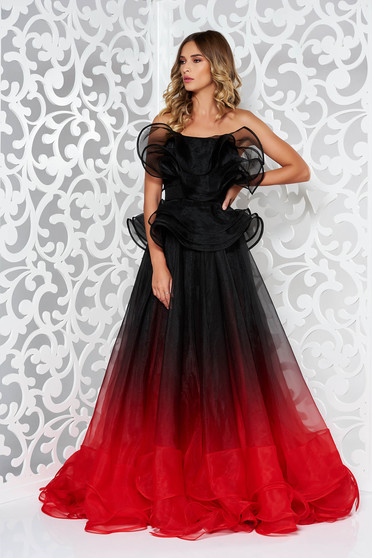 Ana Radu red dress luxurious with inside lining with ruffle details from veil fabric