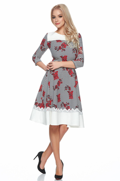LaDonna red cloche dress with floral print and stripes