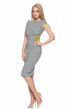 Fofy darkblue pencil dress with graphic details