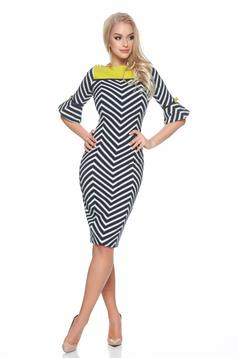 Fofy darkblue bell sleeves dress with graphic details