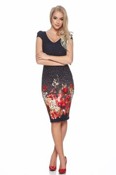 Fofy darkblue dress with floral prints and a cleavage