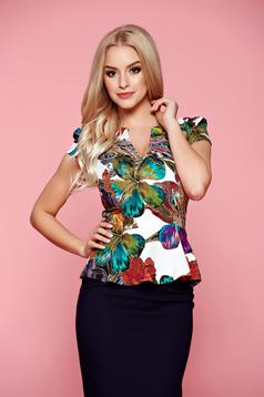 Fofy green women`s blouse with floral print with a cleavage