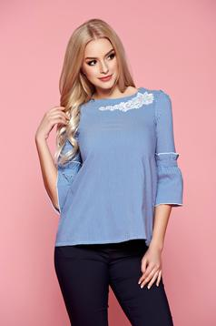 Fofy bell sleeves blue women`s shirt with embroidery details