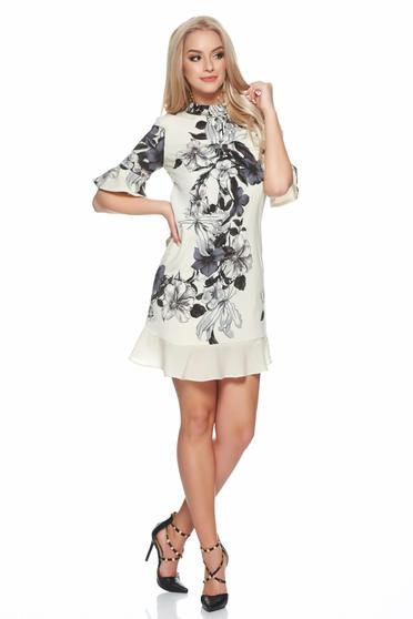 PrettyGirl bell sleeves nude dress with floral print