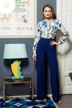 PrettyGirl occasional blue jumpsuit with graphic details
