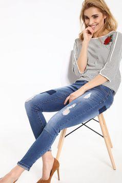 Top Secret casual white cotton women`s blouse with stripes