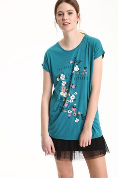 Top Secret casual turquoise t-shirt with floral print