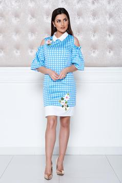 LaDonna blue both shoulders cut out embroidery details dress