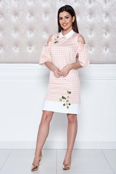 LaDonna peach both shoulders cut out embroidery details dress