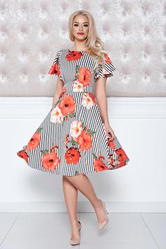 LaDonna cloche coral dress with floral print and vertical stripes
