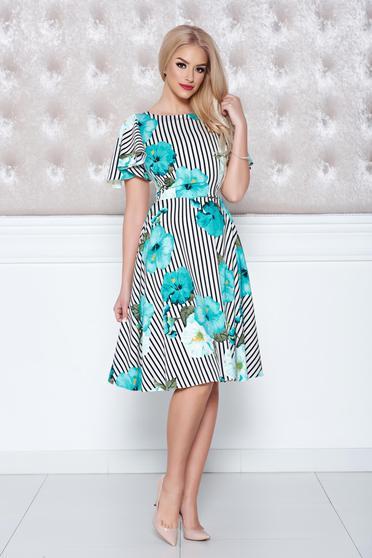 LaDonna cloche mint dress with floral print vertical stripes