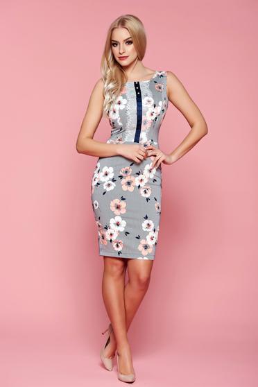 LaDonna peach pencil dress lace details