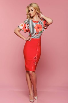 LaDonna red midi dress short sleeve with floral print