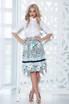 LaDonna midi mint cloche skirt with floral print