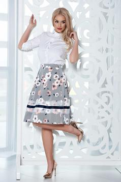 LaDonna midi peach cloche skirt with floral print
