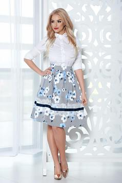 LaDonna midi lightblue cloche skirt with floral print