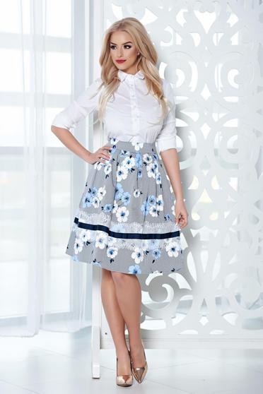 LaDonna midi lightblue cloche skirt with floral print