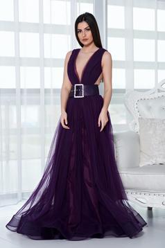 Ana Radu purple dress evening dresses accessorized with belt