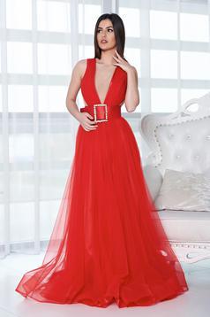 Ana Radu red dress evening dresses accessorized with belt